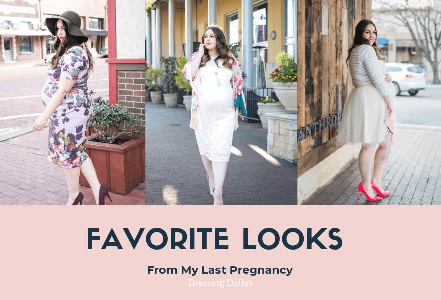 Take a look at some of my favorite maternity fashion outfits I've done in my last pregnancy. These looks will look great for first, second or third trimester.