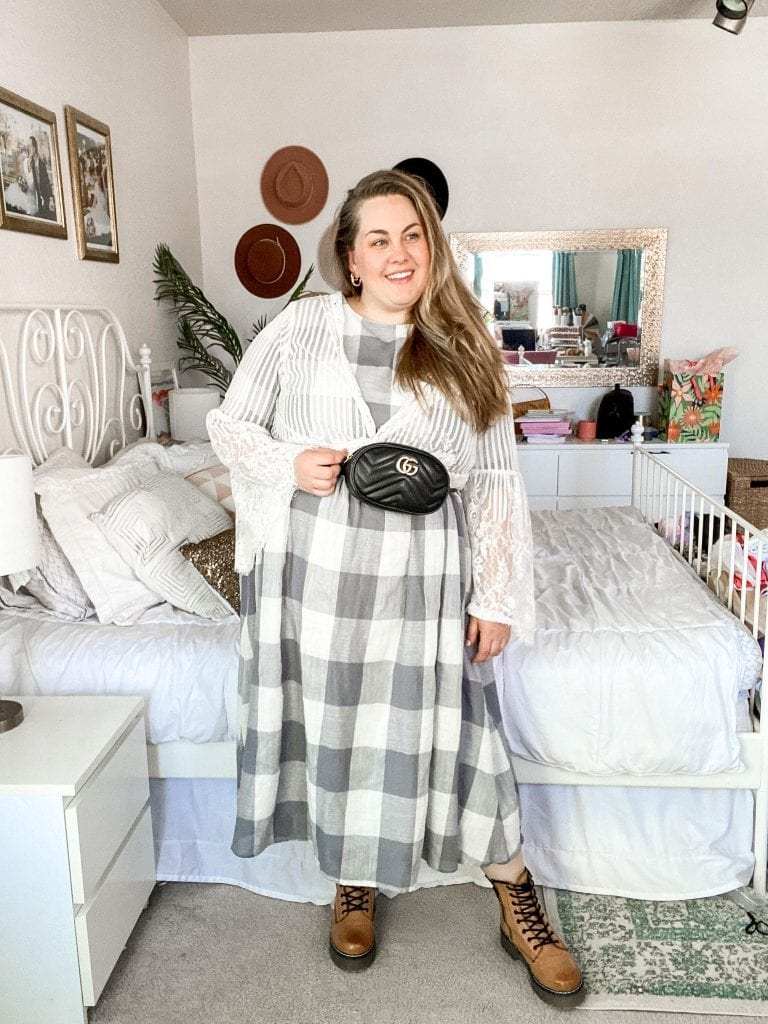 This layered lace cardigan with my favorite buffalo plaid dress is the perfect Plus Size Dress Outfit! Check out more plus size outfits on Lauren Virginia!