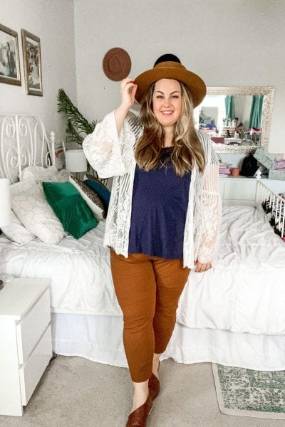 I love this Matching Pants and Hat outfit! It's the perfect way to incorporate the beautiful rust brown color into your clothing!