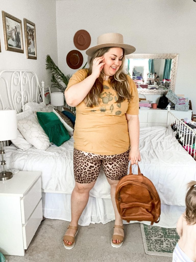 Cheetah is a neutral, especially in bike shorts! Check out more plus size fashion at Lauren Virginia Co!
